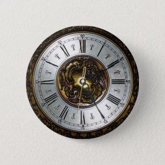 Old steampunk clock design accessoires, vintage 6 cm round badge