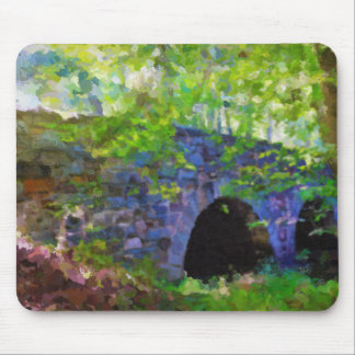 Old Stone Bridge in the forest painting Mouse Pad