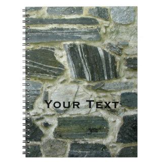 Old Stone Wall with Text Spiral Note Book