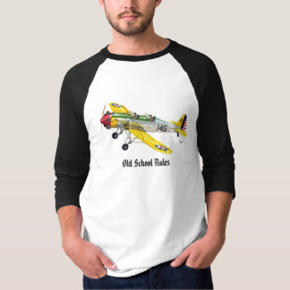 """Old style airplane with """"OLD SCHOOL RULES"""" T-shirt"""