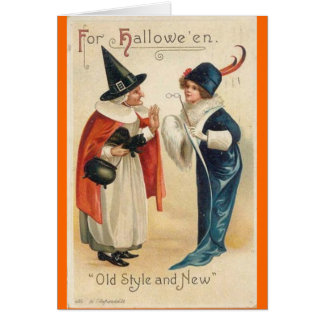 Old Style & New Halloween Wishes Greeting Card