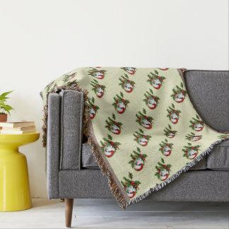 Old Style Vintage Christmas Kitten Throw Blanket