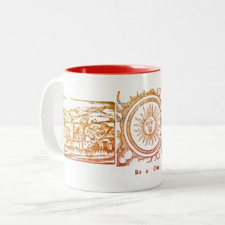 Old Sun engraving Two-Tone Coffee Mug
