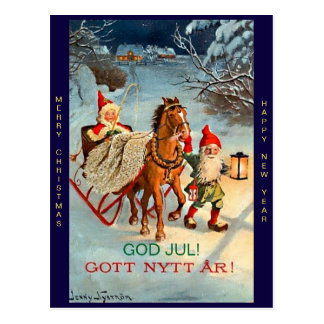 Old Swedish Tomte Elf Merry Christmas & New Year Postcard