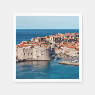 Old Themed, Ancient Village Of Castles With Red Ro Disposable Napkins