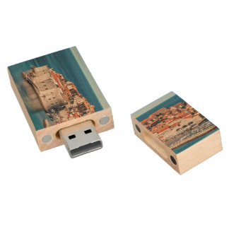 Old Themed, Ancient Village Of Castles With Red Ro Wood USB 2.0 Flash Drive