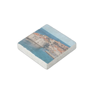 Old Themed, Ancient Village Of Castles With Red Ro Stone Magnet