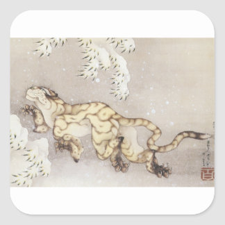 Old Tiger in the Snow Square Sticker