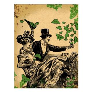 Old Time Carousing Postcard