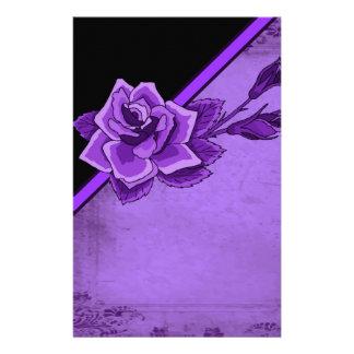 Old TIme Purple Rose Floral Set Stationery