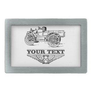 old time truck on road belt buckles