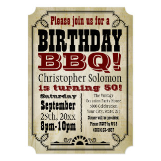 Old-Time Vintage Country Birthday BBQ Party 13 Cm X 18 Cm Invitation Card