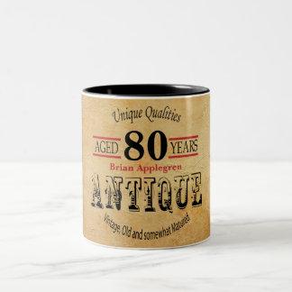 Old Timer 80th Birthday Two-Tone Coffee Mug
