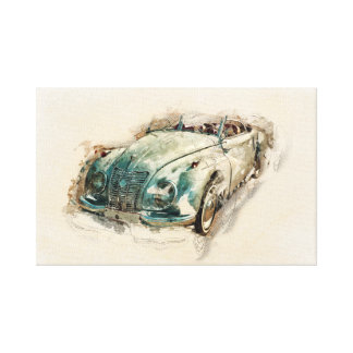 Old timer, autowater color illustration, design canvas print