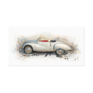 Old timer, car, convertible - water color, design canvas print