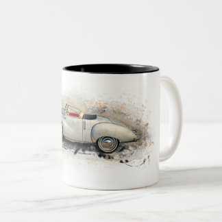 Old timer, car, convertible - water color, design Two-Tone coffee mug