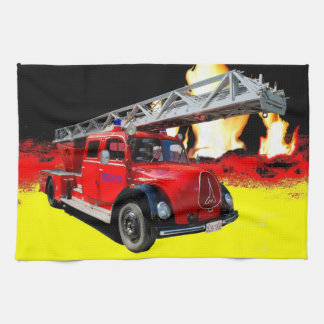 Old timer fire-brigade tea towel