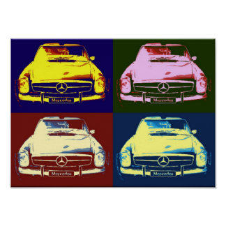 Old-timer Mercedes collage poster by N.P.