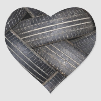 Old Tires for Recycling Heart Stickers