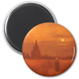 Old Tower in the Fields by Vincent van Gogh 6 Cm Round Magnet