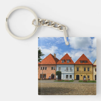 Old town houses in Bardejov, Slovakia Key Ring