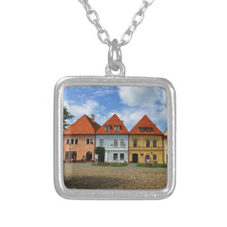 Old town houses in Bardejov, Slovakia Silver Plated Necklace