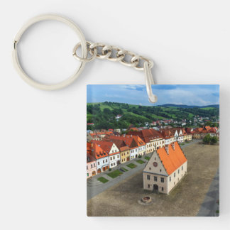 Old town square in Bardejov by day, Slovakia Key Ring