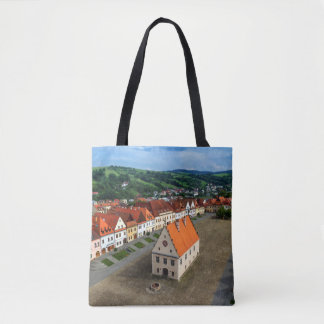 Old town square in Bardejov by day, Slovakia Tote Bag
