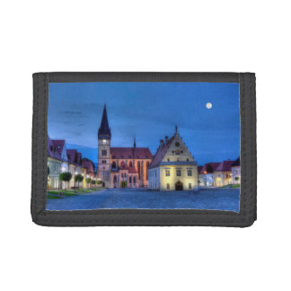 Old town square in Bardejov, Slovakia,HDR Tri-fold Wallets
