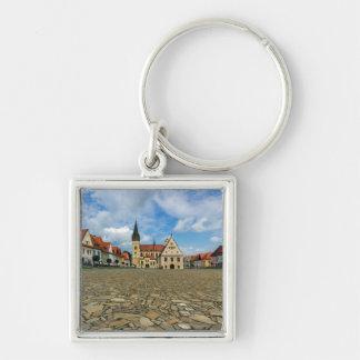 Old town square in Bardejov, Slovakia Key Ring