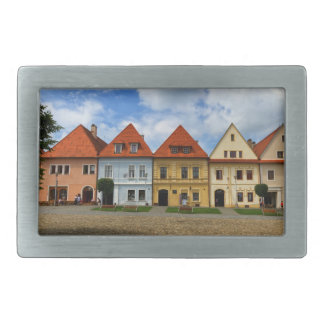 Old town square in Bardejov, Slovakia Rectangular Belt Buckles
