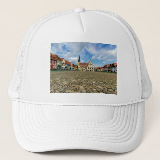 Old town square in Bardejov, Slovakia Trucker Hat