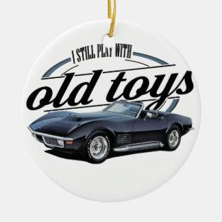 old toys black vette ceramic ornament