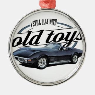 old toys black vette metal ornament