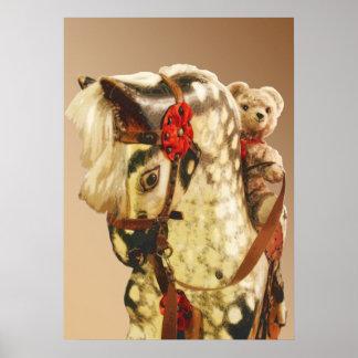 Old Toys: Nursery Teddy-Bear on Hobbyhorse Poster