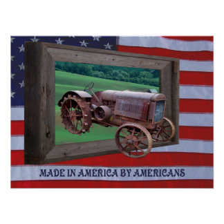 OLD TRACTOR DRIVING OUT OF FRAME-POSTER POSTER
