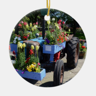 Old Tractor Floral Display Round Ceramic Decoration