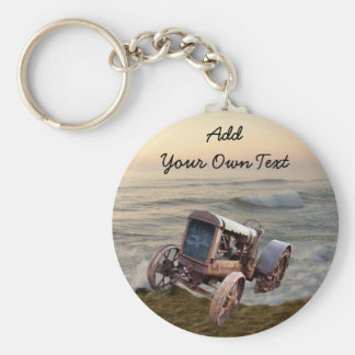OLD TRACTOR IN SURF--KEYCHAIN KEY RING