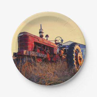 old tractor red machine vintage 7 inch paper plate
