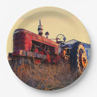 old tractor red machine vintage 9 inch paper plate