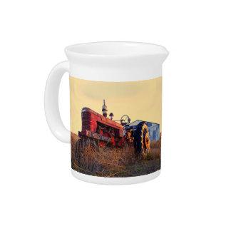 old tractor red machine vintage beverage pitcher