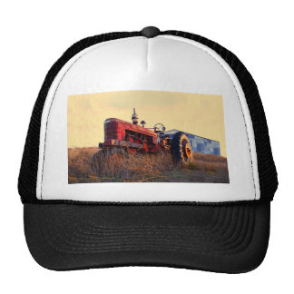 old tractor red machine vintage cap