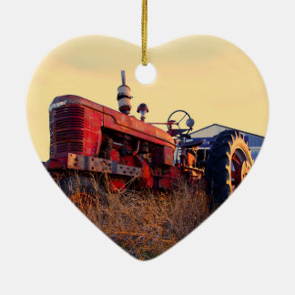 old tractor red machine vintage ceramic heart decoration