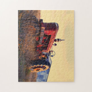 old tractor red machine vintage jigsaw puzzle
