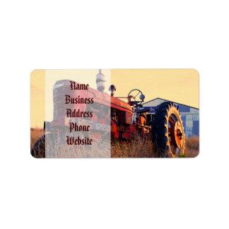 old tractor red machine vintage address label