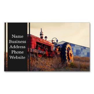 old tractor red machine vintage magnetic business cards