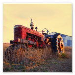 old tractor red machine vintage photo