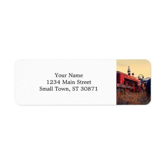 old tractor red machine vintage return address label