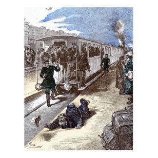 Old Train Steam Engine Leon Bennet Illustration Postcard