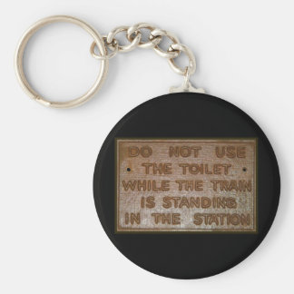 old train toilet sign basic round button key ring